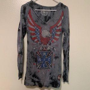 Affliction Hoodie American Flag Eagle Rhinestones